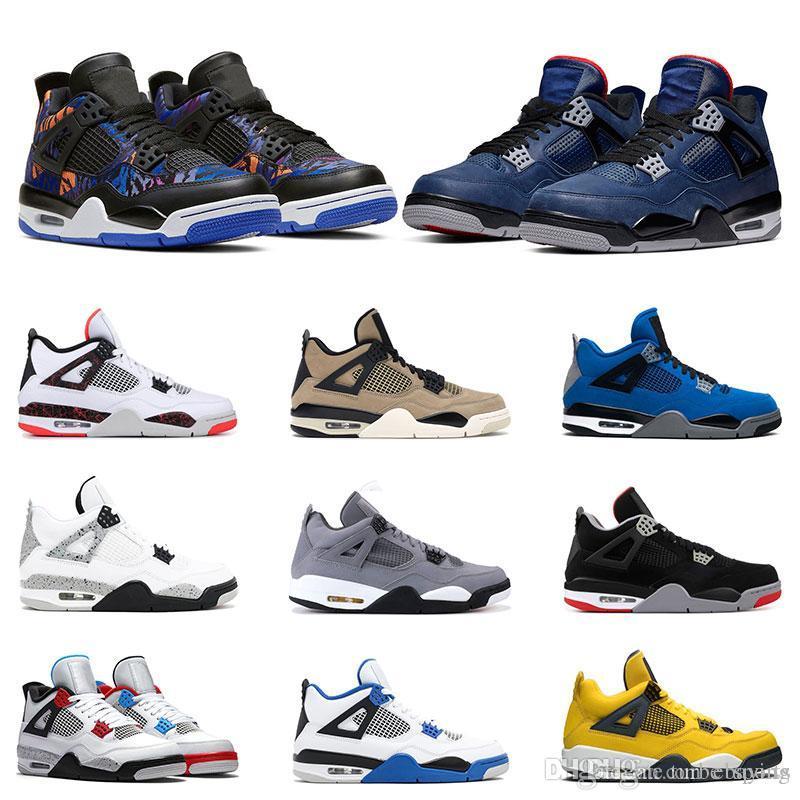 2020 Nuovi 4s scarpe da basket degli uomini 4 formatori RUSH VIOLA Loyal Blu Che il fresco dimensioni grigio pallido CEDRO RAPTOR Sport Sneakers 7-13