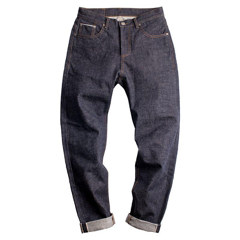Oído Maden 15oz Denim Hombre Jeans Rojo orillo del japonés AMEKAJI pantalones de cintura larga recta mediana Pantalones Ropa Bottoms