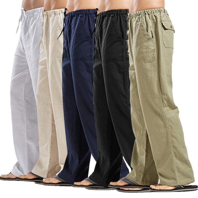 Homens Casual Sólidos calças cor de longa com cordão Pockets reta soltas Calças