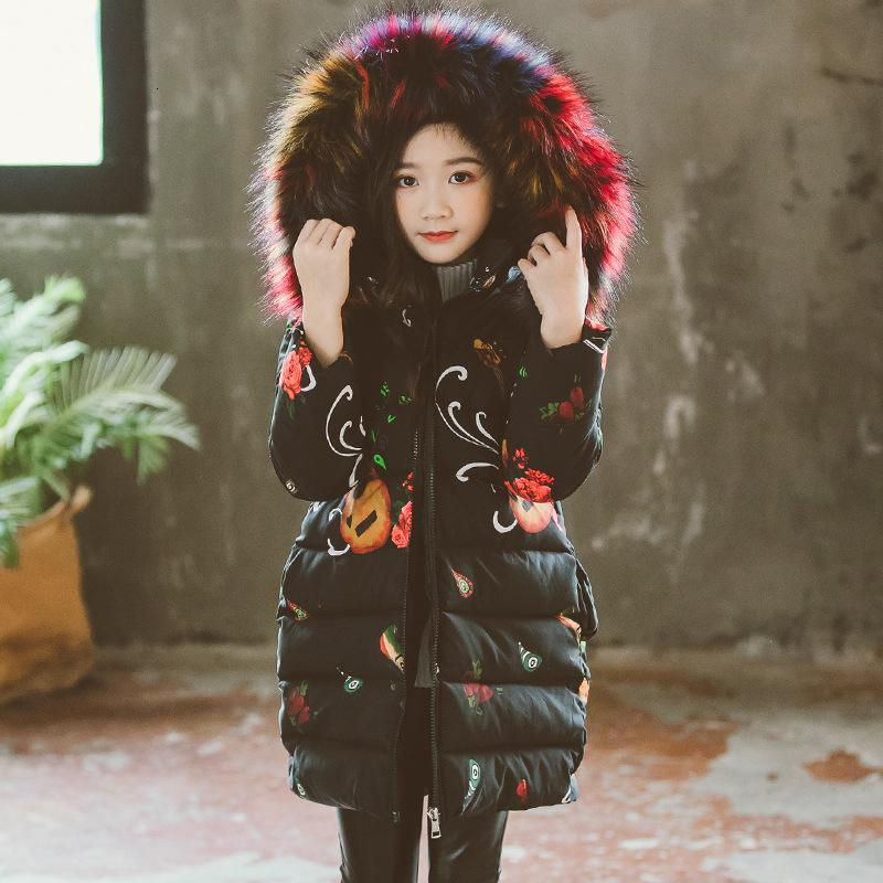Fashion Winter Thicken Warm Cotton Printed Child Long Coat Children Outerwear Fur Collar Baby Girls Jackets For 3-12 Years Old MX191024