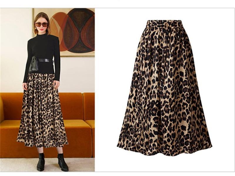 Womens Leopard print designer gonne a vita alta Sexy Ladies Plus Size Contrasto colori Gonne media Femmina Vitello Abbigliamento
