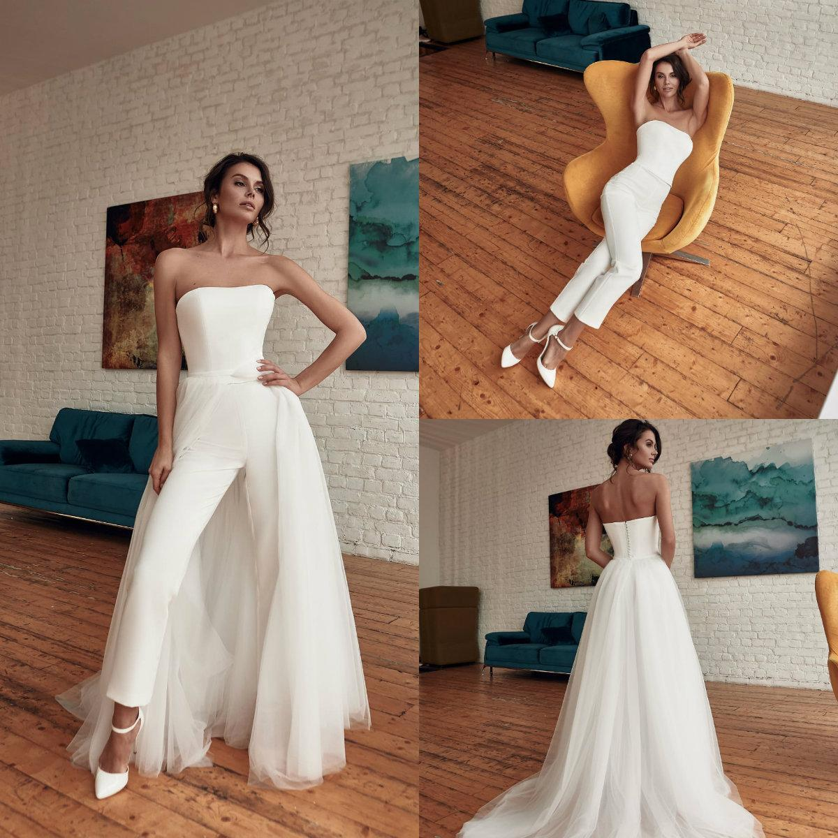 Moderne Frauen-Overall Brautkleider mit Tüll overskirts Strapless Braut Brautkleider Hosen-Anzugs-formales Kleid