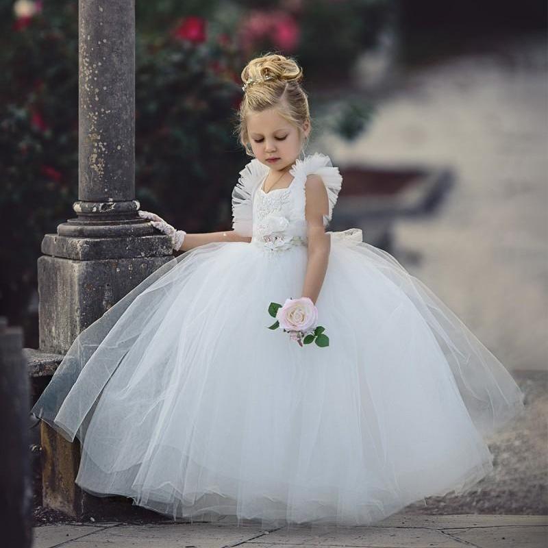 White 2020 Ball Gowns Flower Girls Dresses Flower Girl Dress Weddings Ankle Length A Line Communion Dresses