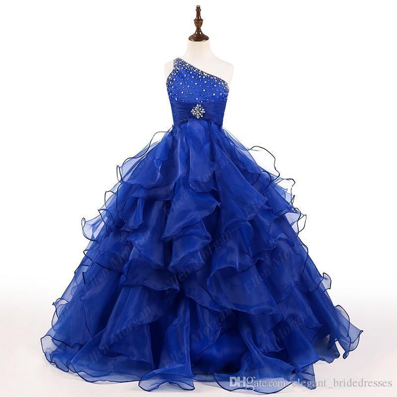 2019 Royal Blue Girls Pageant Dress Une Épaule Cristaux Perles Ruffles Organza Robe De Bal Filles Fête D'anniversaire Robes Taille Personnalisée