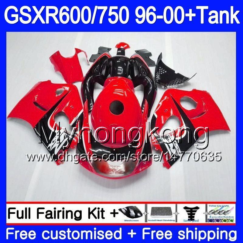 Bodys + Gloss red blk Réservoir Pour SUZUKI SRAD GSXR 750 600 1996 1997 1998 1999 2000 291HM.65 GSXR600 GSXR-750 GSXR750 96 97 98 99 00 Carénage