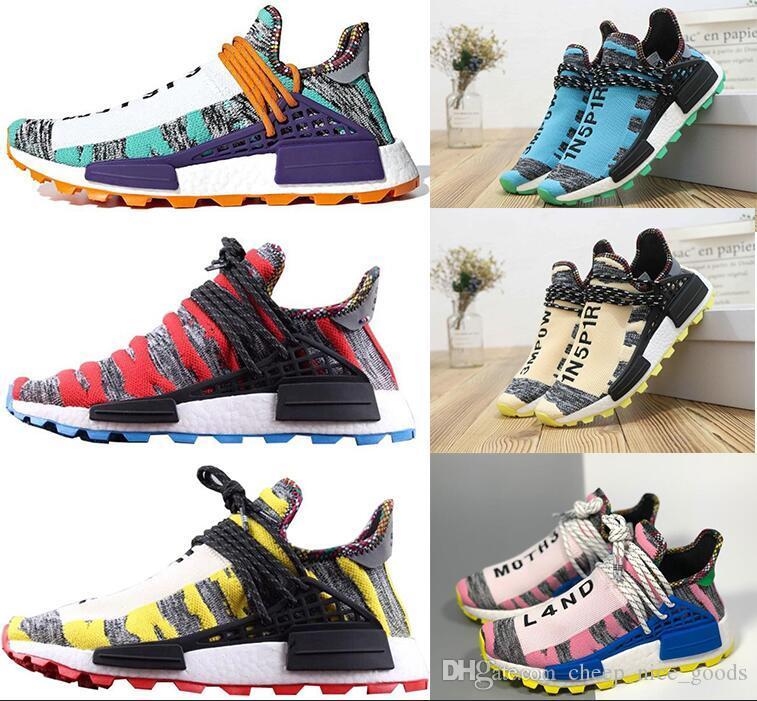 2019 Human Race Hommes Chaussures de course avec la boîte Pharrell Williams Exemples Jaune Noir Chaussures de sport de base Designer taille Sneakers 36-45
