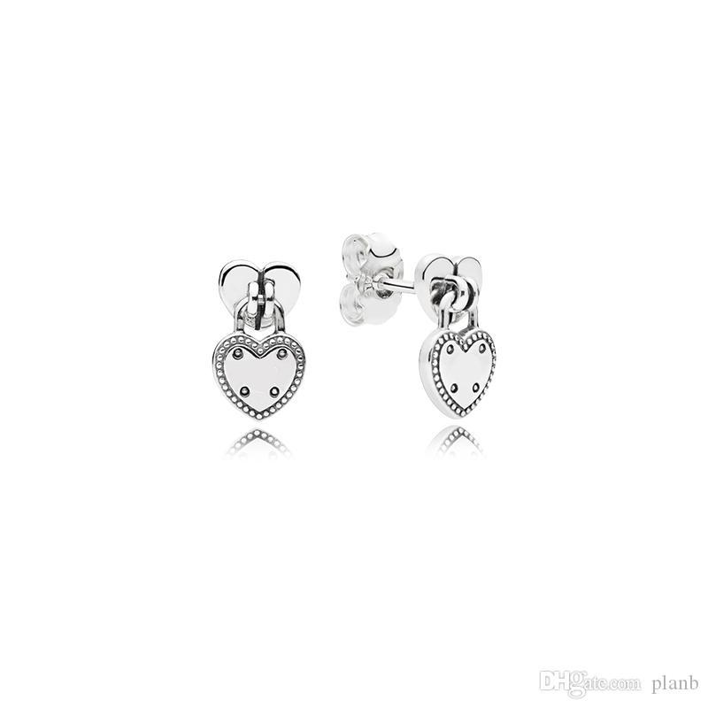 925 coeurs pendentif en argent sterling boucles d'oreilles boîte originale pour Padlock Boucles d'oreilles en forme de coeur Pandora Femmes Luxe Parures Stud