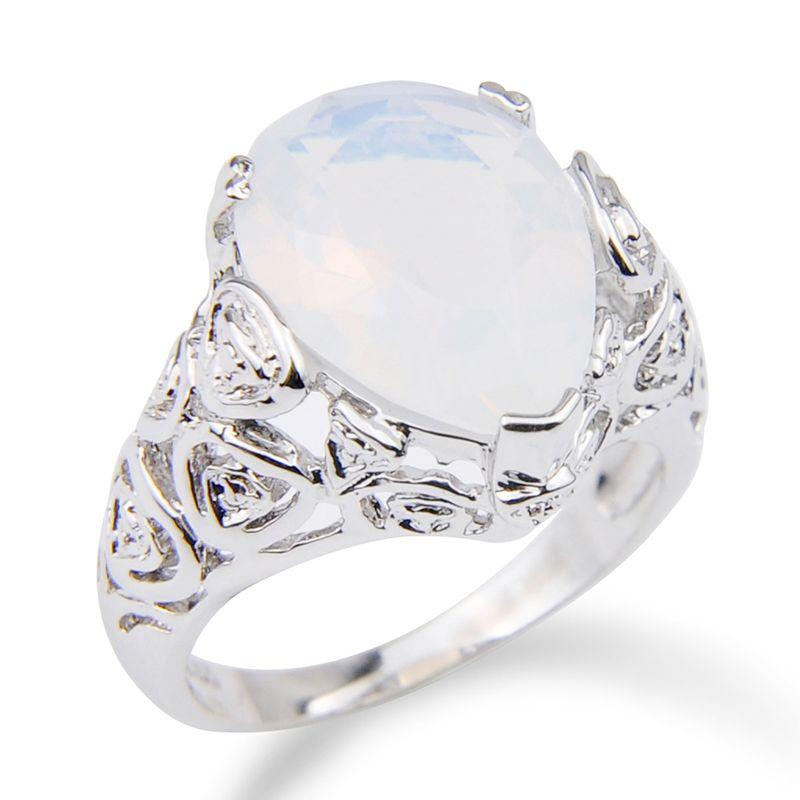 Beyaz Oval Aytaşı Yüzük Kadının Parti Düğün Hediye Gümüş Renk 10 Adet / Lot Güzel Balo Takı Parlak Yüzük