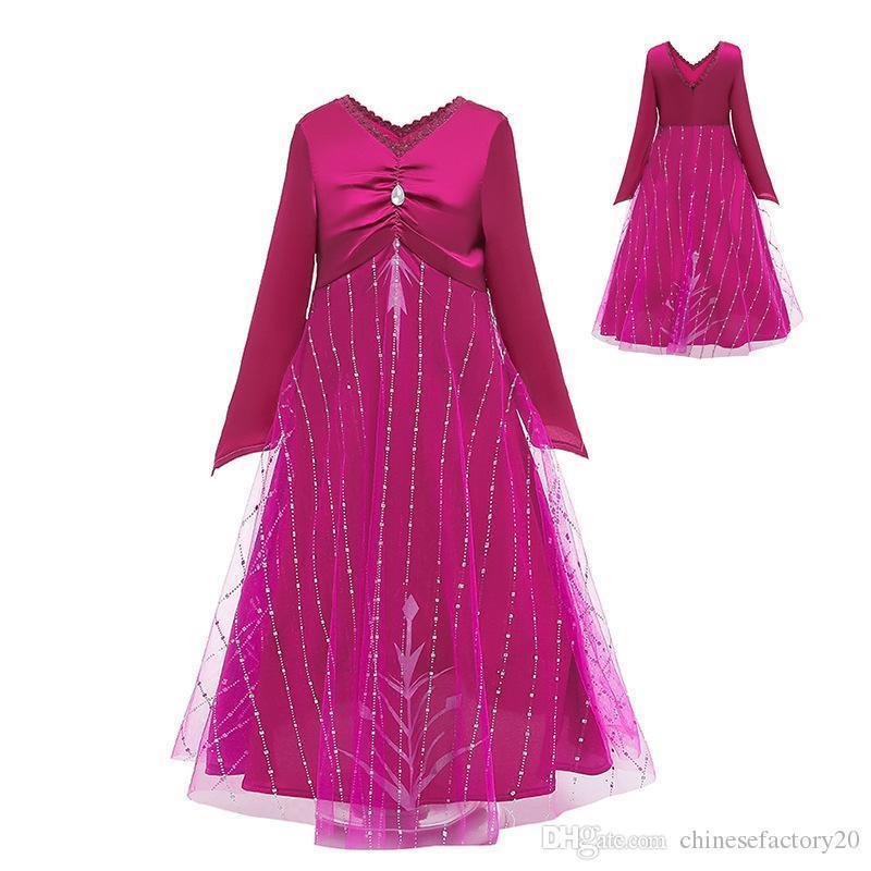 Ins Snow Queen 2 II Cosplay del vestido de lujo de la princesa para la fiesta de Halloween traje del Rhinestone vestidos de niña para niños