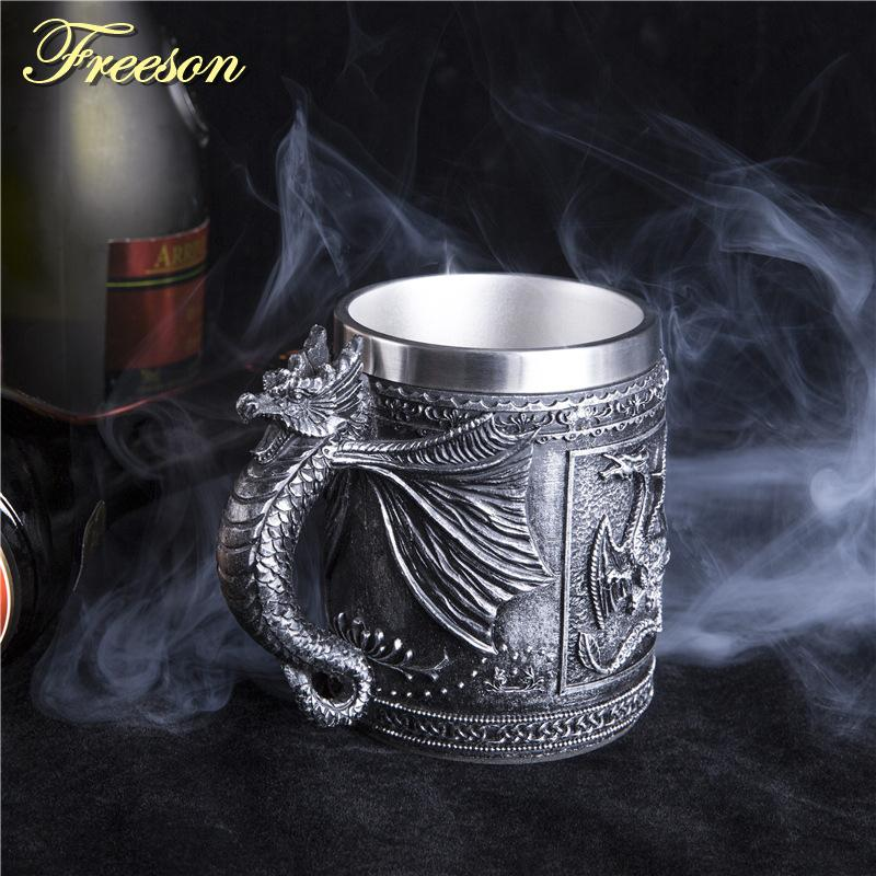 Retro Dragon Resin Stainless Steel Beer Mug Skull Knight Tankard Halloween Coffee Cup Creative Viking Tea Mug Pub Bar Decoration Q190525