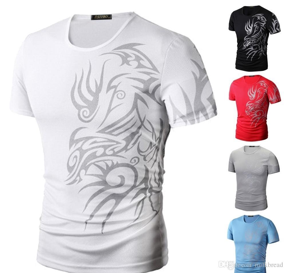 Мужская мода спортивная футболка рубашки с коротким рукавом O образным вырезом Dragon Print Super Elastic Slim Fit хорошее качество футболка TX70 R