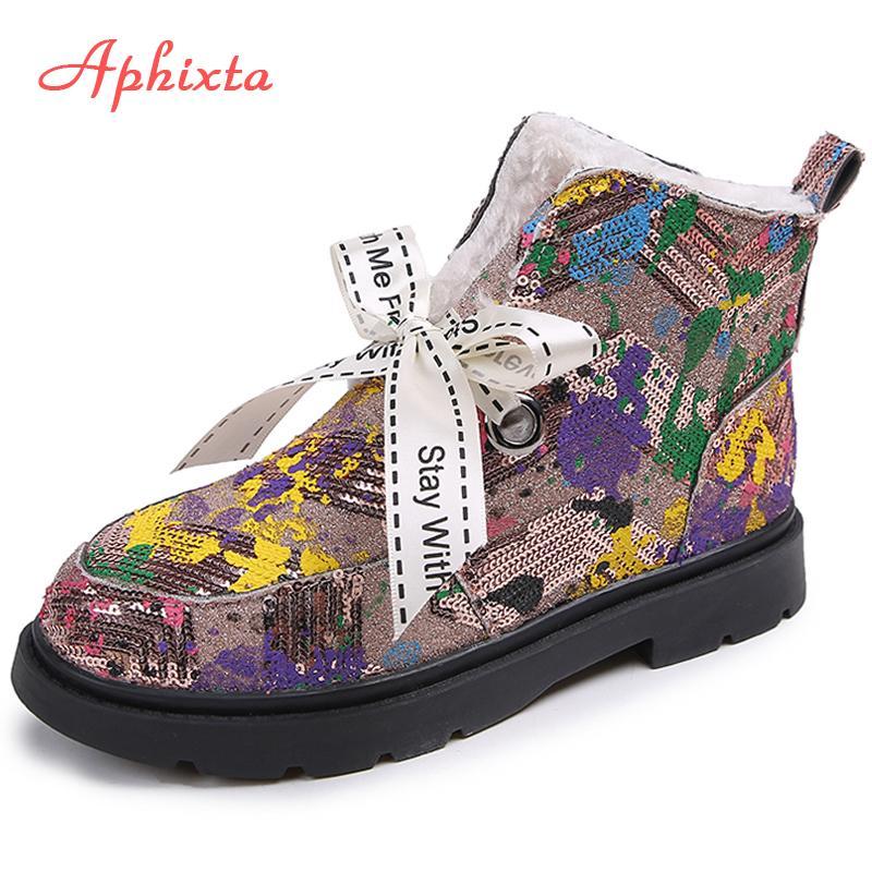 Aphixta la nieve del invierno botas zapatos de las mujeres coloridas de camuflaje calientan los zapatos de mujer Cartas del arco del tobillo cargadores para las mujeres Chaussures Hembra