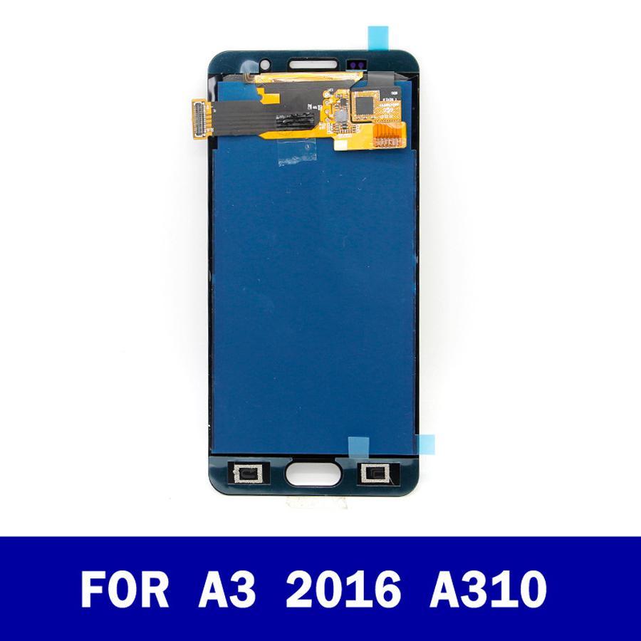 LCD الأصلي للحصول على سامسونج غالاكسي A3 2016 شاشة A310 أ310- العرض A310H LCD تعمل باللمس محول الأرقام الجمعية مع استبدال الهاتف الخليوي اختبار الجزء