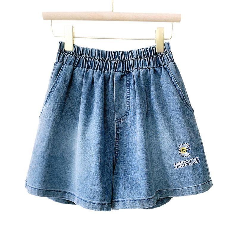 Lose beiläufige Frauen-Jeans Sommer-dünne Daisy Letters Jeans-Shorts mit weitem Bein elastische Taillen-Sports Hot Pants Pantalon Corto Mujer