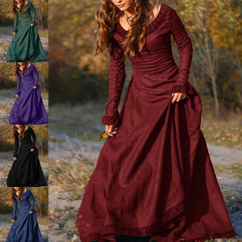 Women Gothic Renaissance Costume Vintage Medieval Ball Gown Long Dress Sz S~3XL