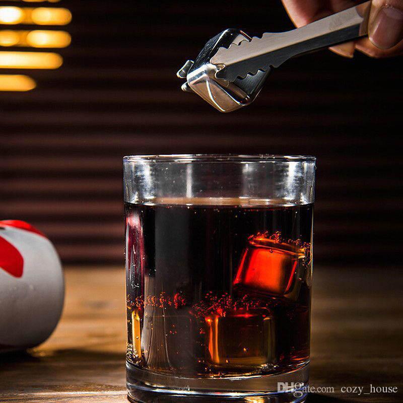 Whisky En Acier Inoxydable Pierres Boissons Glace Cooler Cubes Cool Glacier Rock Bière Congélateur Barware Forme De Coeur Coeur Crâne Pétale Os Conception De Monnaie