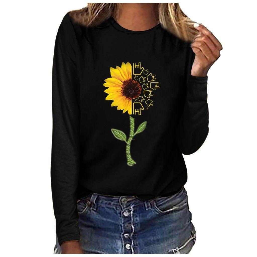 2019 blusa Casual Tops Casual Feminino O Long Neck Sleeve Flower Mulheres Imprimir Tops solto blusas Camisas Sexy Vintage Blusa Feminina