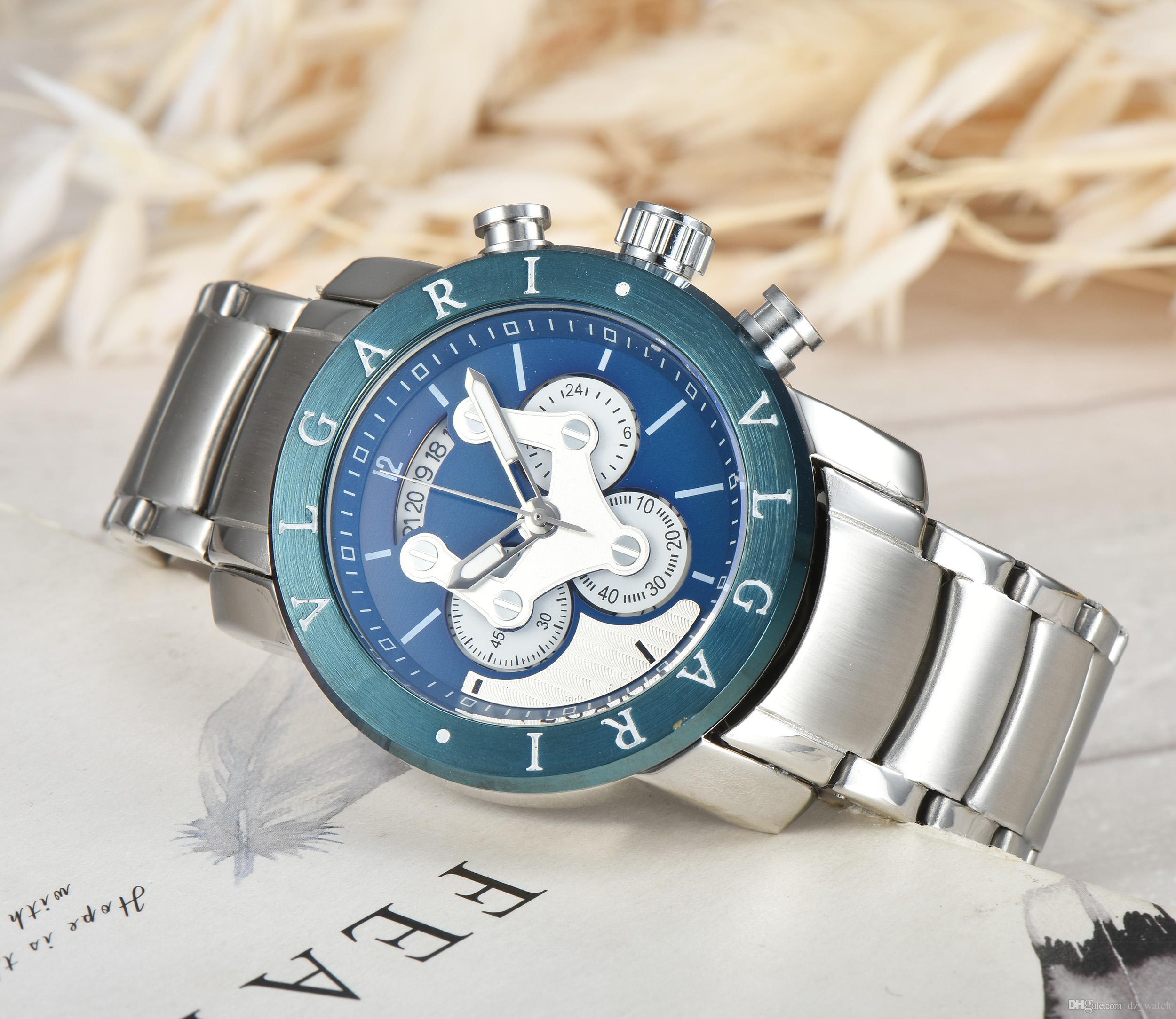 Relogio Masculino Neuer Sport Chronograph Herren-Uhren Top-Marke Luxus voller Stahl Quarzuhr wasserdicht großes Zifferblatt Uhr-Männer
