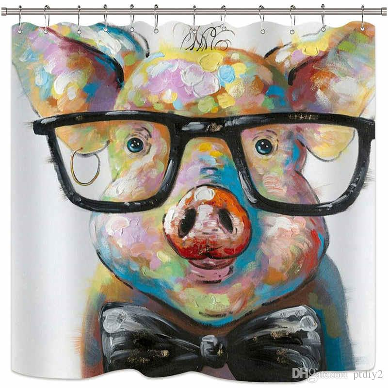 Riyidecor Watercolor Pig Shower Curtain Portrait Animal Funny Cool Colorful Vintage Oil Painting Hipster Cute Decor Fabric Set Polyester