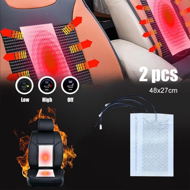 Universal 12V en fibre de carbone Tapis chauffants haute / basse ronde Commutateur housses de siège de voiture d'hiver Accessoires Chauffée Couverture Pour la voiture