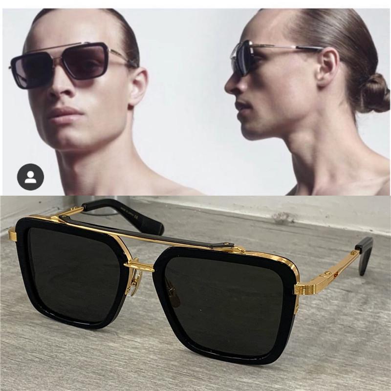 النظارات الشمسية سبعة الرجال أعلى تصميم المعادن خمر الأزياء نمط مربع الإطار في الهواء الطلق حماية uv 400 عدسة النظارات مع القضية