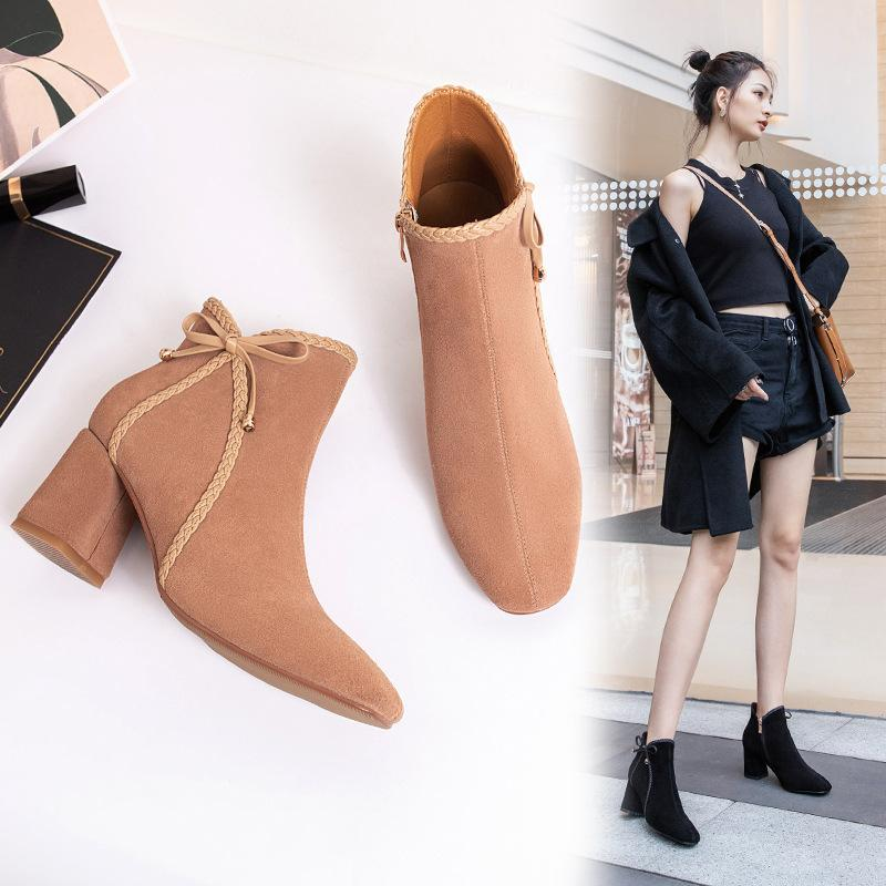 Hot Sale-Elegant Weave bow woman fall boots brand suede zipper square toe flock botas 2019 fashion student british ankle martin botines