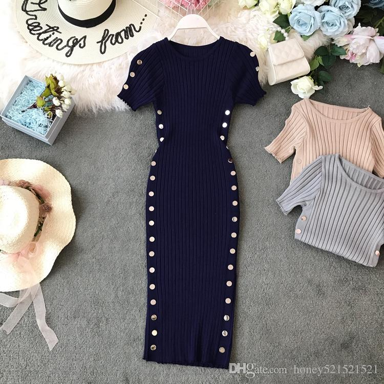 New design women's fashion o-neck short sleeve thread knitted bodycon tunic double breasted patchwork knee length pencil dress