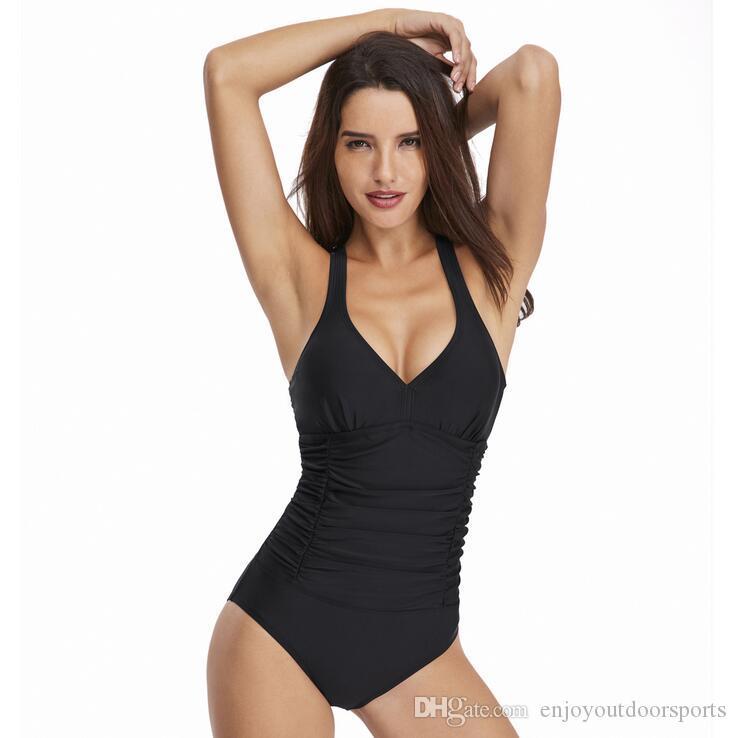 Plus Size One Piece Swimsuit Women Swimwear Tankini Sets Swim Vintage Beach Wear Bathing Suits Female Bandage Bodysuit Monokini Swim Suit