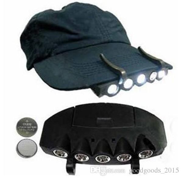5LED Super Bright Cap Light Headlight HeadLamp Head Flashlight Head Cap Hat Light Clip On Light Fishing Head Lamp DLH073