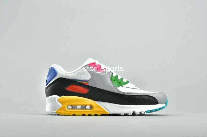 Compre 2019 New Nike Air Max 90 Be True Rainbow Para Mujer Para Hombre  Zapatillas De Deporte Air Mesh 90s Diseñador CJ5482 100 Tamaño Eur 36 46 A  ...