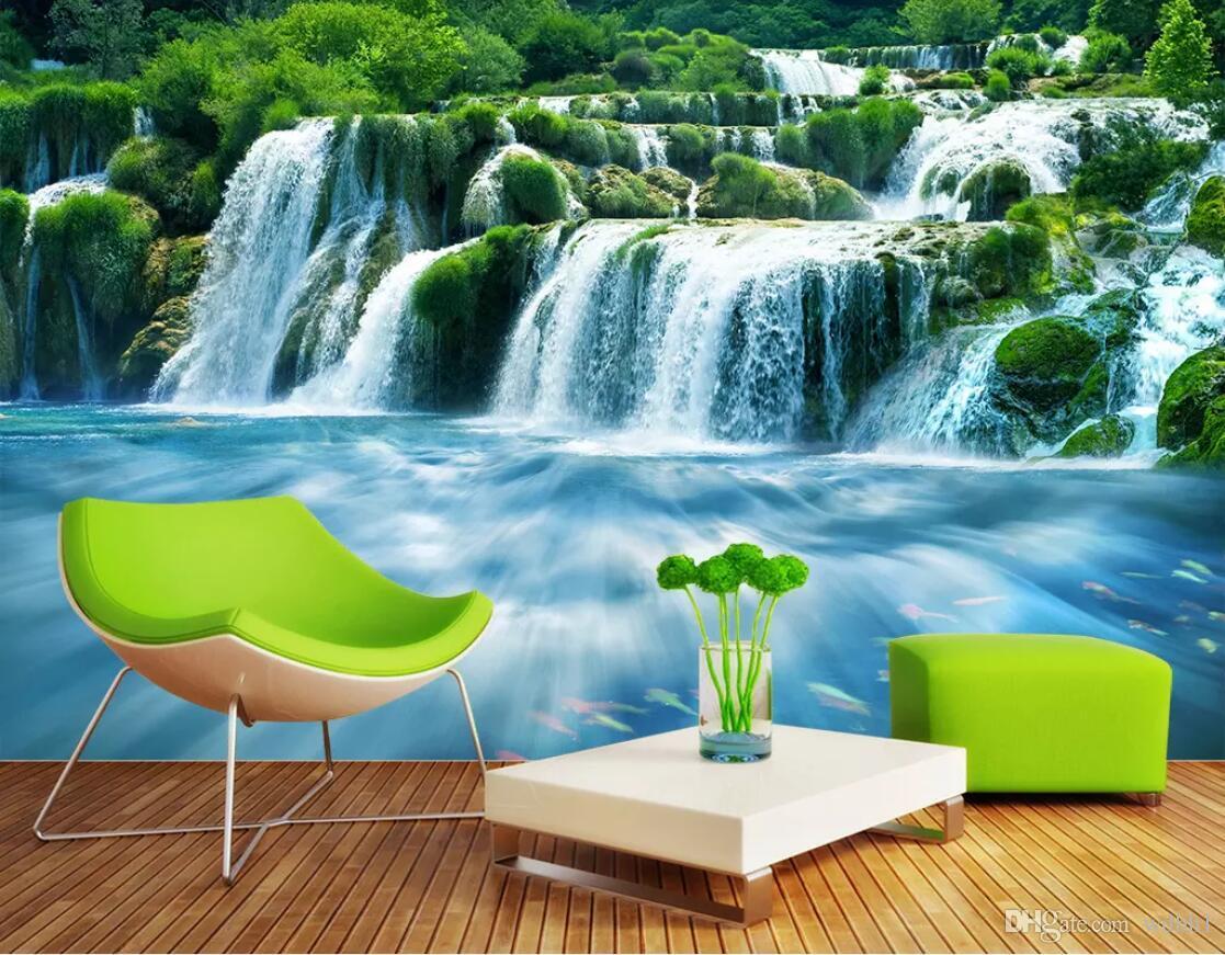Kundenspezifisches Fototapete der Tapete 3d Wasserfall, Wasser, dreidimensionale Landschaft, Hintergrund, Wandmalereilandschaftswandteppich 3d