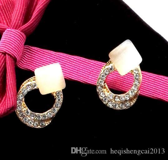 бесплатная доставка темперамент круговой двойной круг обмотки установить Алмаз опал площадь уха шпильки мода классический изысканный элегантность