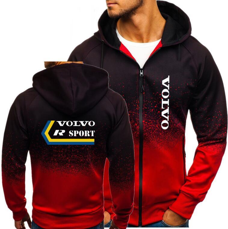 Primavera Mens volvo r esporte Imprimir Hoodies Jacket Men Outono Inverno quente grossa Brasão Masculino sportwear velo Zipper