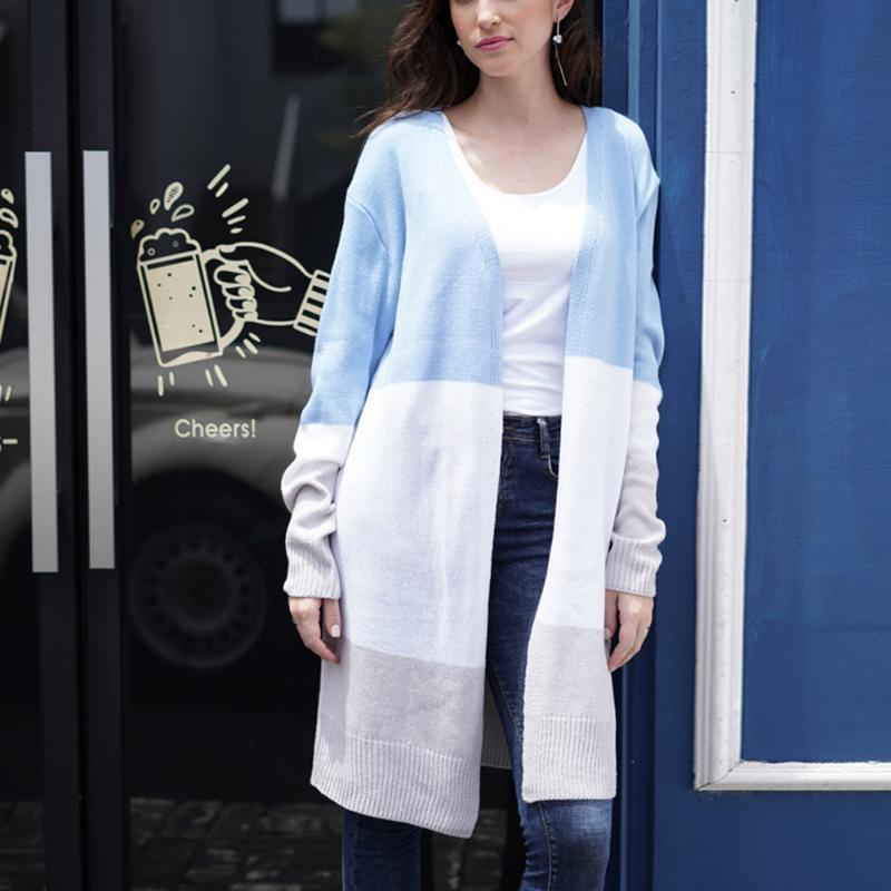 2020 Мода кардиганы Вязаные свитера Женщины Dihope Тонкие трикотажные свитера кардигана хлопка с длинным пальто Outwear Женщины Плюс Размер 2XL