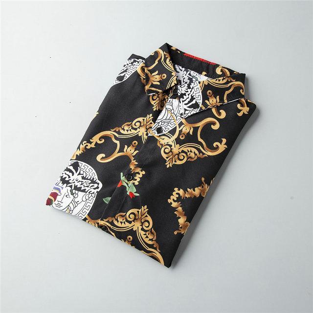 Осенняя одежда мужской хлопок смесь человек мода с длинными рукавами печатных рубашки одежда Молодежная рубашка 112702