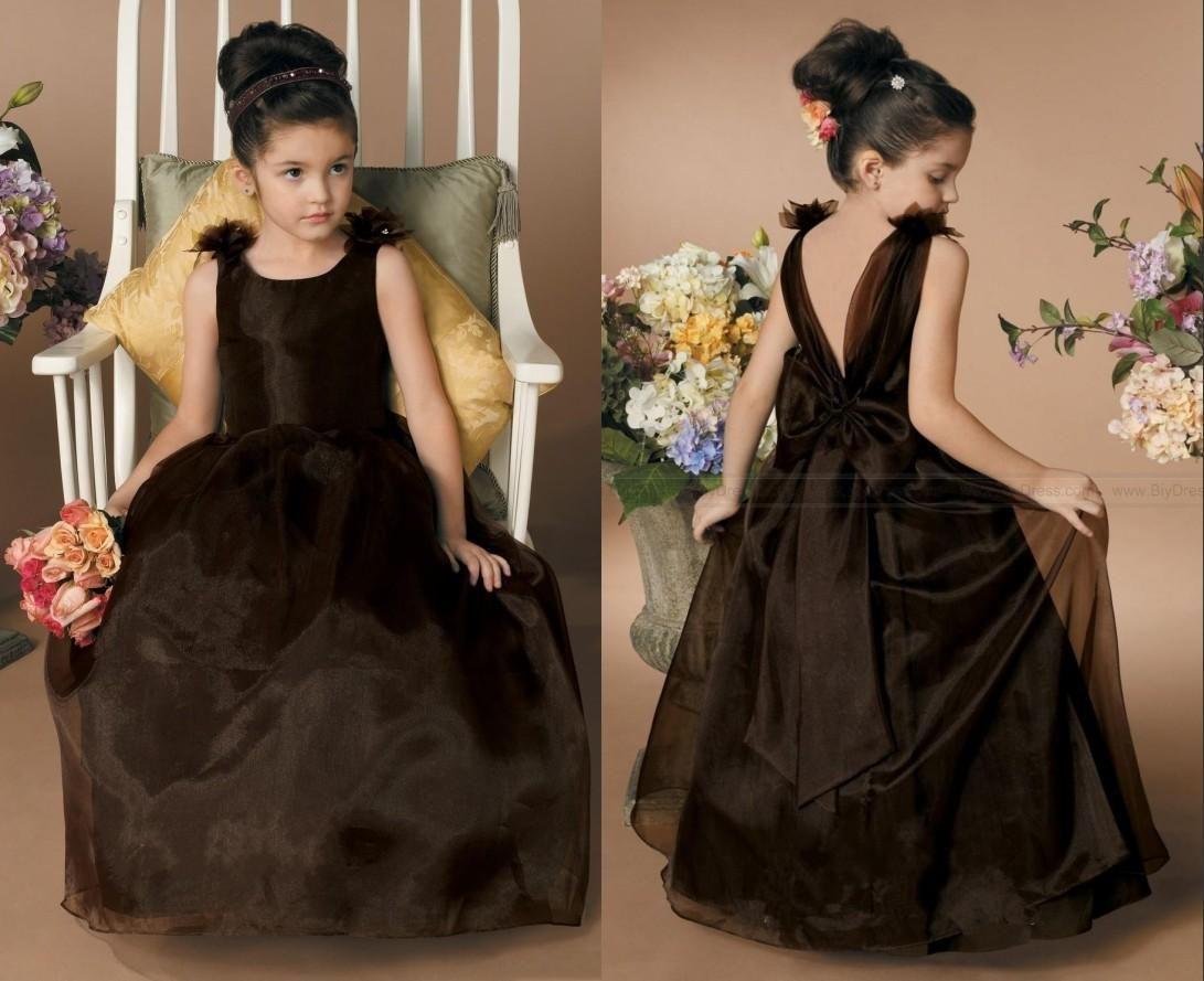 Cute Glitz Black Flower Girls Dresses Jewel Organza Backless A Line Junior Princess Gowns Little Kids Pageant Party Dresses Robes De Fête