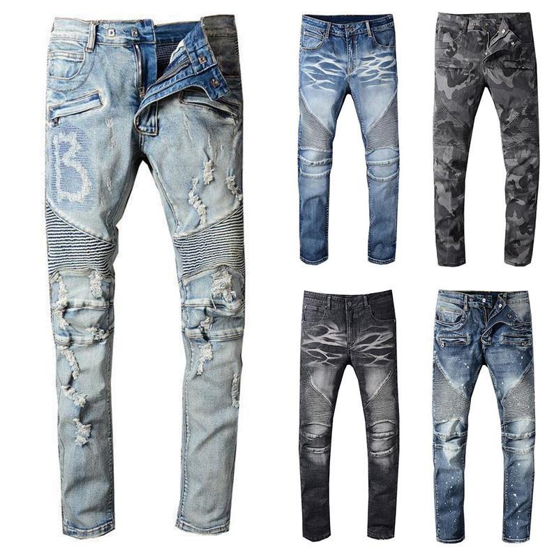 ممزق 2020 NewBalmainMens المتعثرة السائق جينز رجالي سليم صالح للدراجات النارية السائق الدينيم للرجال S الأسود موضة 19ss من أجل البشر