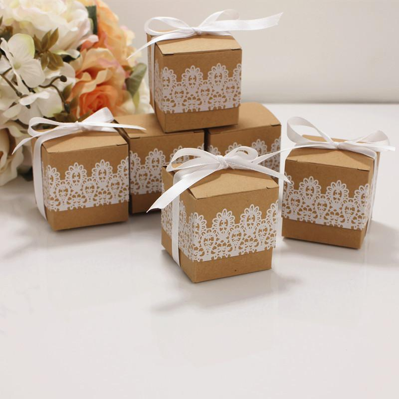 Lace Bow Candy Dragees Box Flower Kraft Paper with Ribbons Birthday Wedding Gift Box Chocolate Cupcake Cake Boxes and Packaging