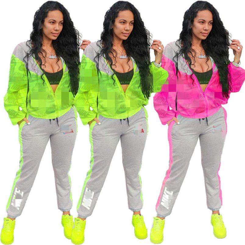 Frauen Marke 2-teiliges Set reizvoller Verein eleganter Strickjacke Hose sweatsuit Mantel-Sweatshirts Leggings Outfits Pullover Bodysuits getäfelten Fitness 0064