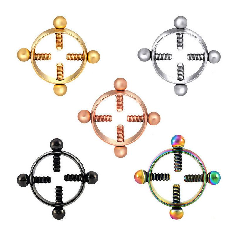 Par de anéis redondos e não perfurantes para os mamilos Anéis mistos cores falsos Piercings de mamilos ajustáveis Anel Jóias ajustáveis Mulheres sensuais