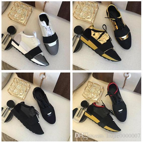 El nuevo diseñador de zapatos de malla envío de la gota popular marca de calzado casual mujer del hombre la zapatilla de deporte de la manera mezcló colores rojo desnuda malla Trainer con la caja