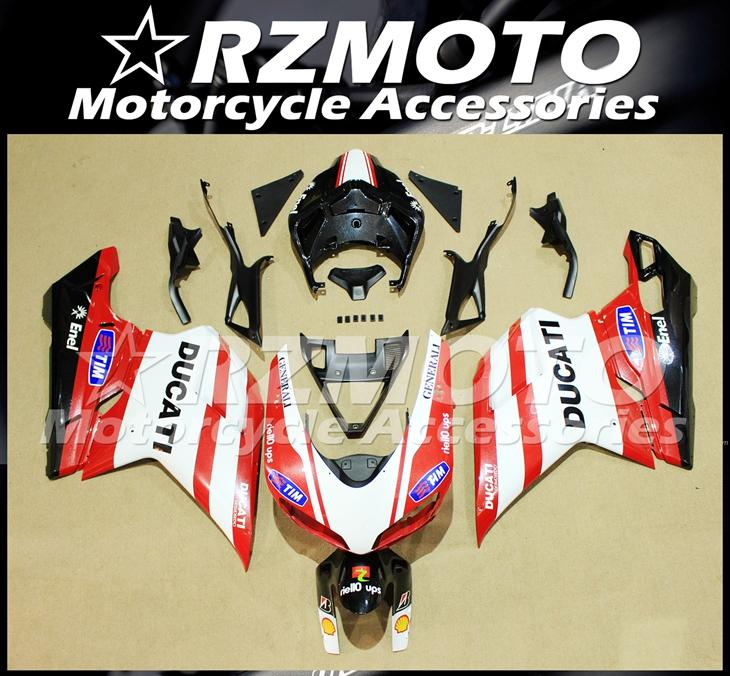 Injection Mold New ABS Fairings set Fit For Ducati 848 1098 1198 1098s 1098R EVO 2007 2008 2009 2010 2011 2012 Custom Red White TIM