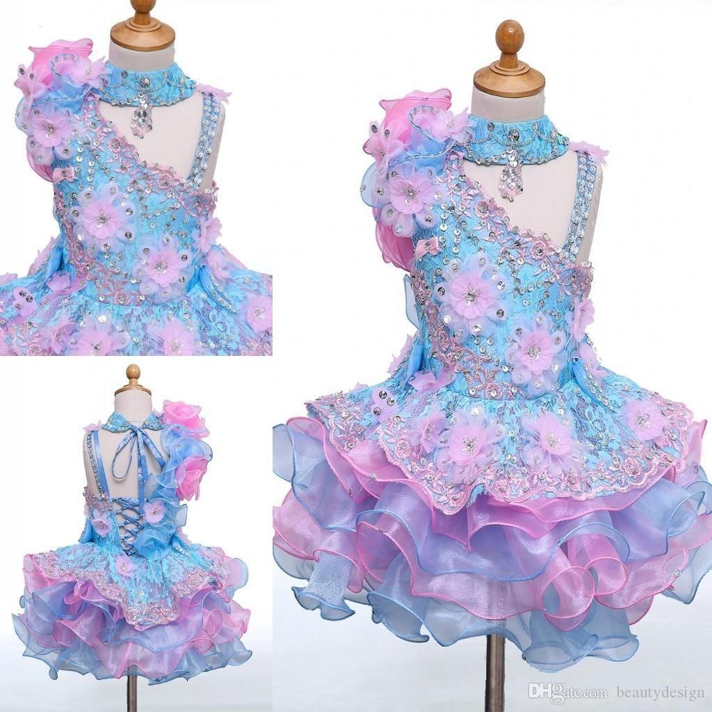 Real Image High Neck Mini Short Cupcake Flower Girls Dresses Appliques Beaded Lace-up Back Girls Pageant Dresses Kids Birthday Party Dresses