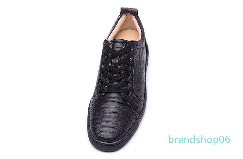 Mens barato de las mujeres top del punto bajo de piel de serpiente inferiores rojos zapatos de lujo ocasionales planos para mujeres de los hombres a estrenar de las zapatillas de deporte del patín Comfort Diseñador lll