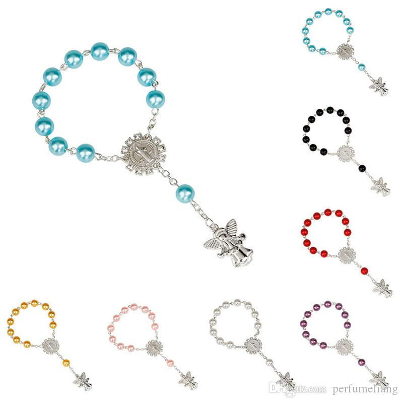 El bautismo de pulsera religiosa de la perla de imitación Rosario niños comunión bebé Favores Católica Mini Rosario envío rápido ZC2103