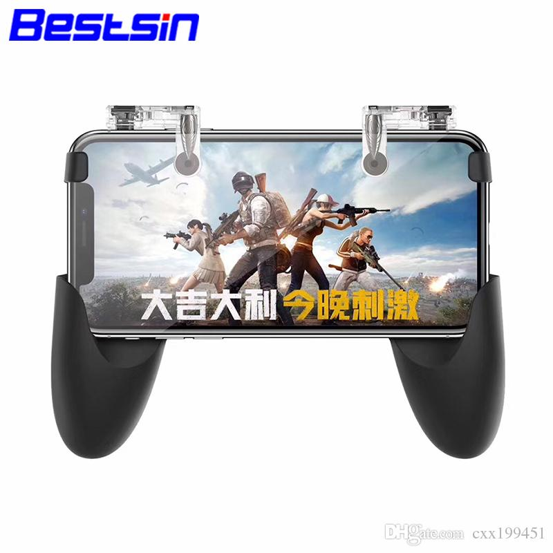 Bestsin Pubg Game Gamepad For IPhone Android Phone Game Controller L1R1 Shooter Trigger Fire Button Joystick Phone Holder