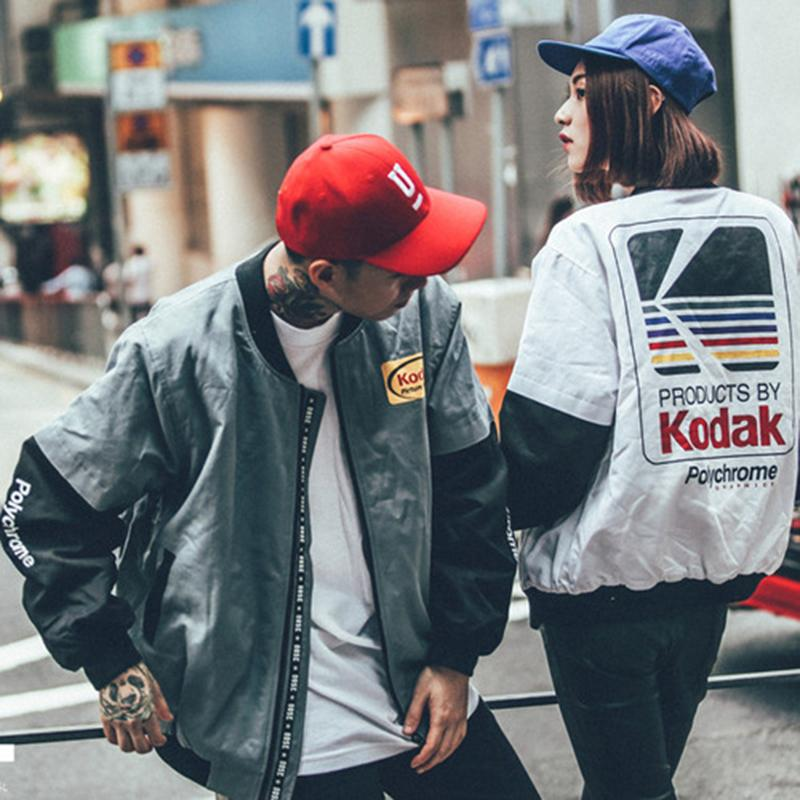 New Japanese Hip Hop Style Bomber Jacket Harajuku Pilot Street Printing Kodak Jackets Casual Men Coat Brand Clothing Outerwear