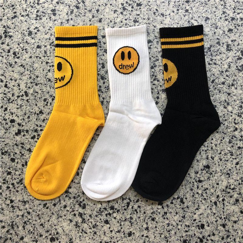 Moda Drew House calze di cotone Intimo Calze Unisex Uomo Nero Giallo Donne Hip Hop Designer Socks