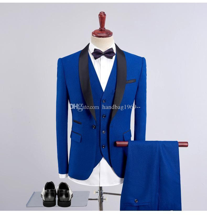 Hot Sell Royal Blue Groom Tuxedos Mens Prom Dress Party Suits Coat Waistcoat Trousers Set (Jacket+Pants+Vest+Bow Tie) K207