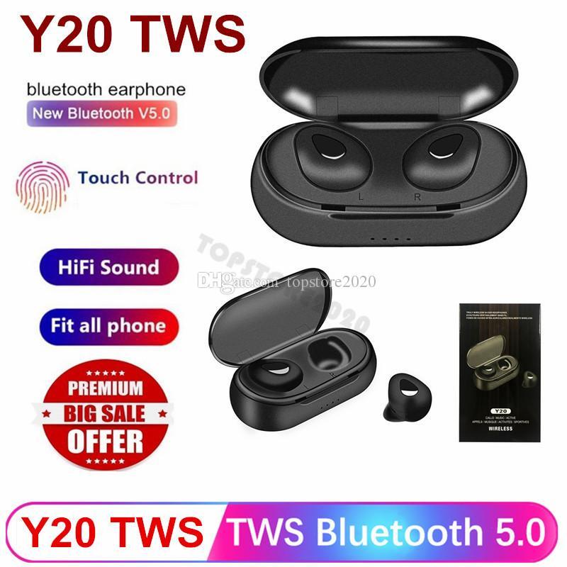 Mikrofon kulaklık ile Y20 TWS Kablosuz Mini Kulaklık Bluetooth 5.0 Sport Kulaklık Taşınabilir Şarj Kutusu 3D stereo kablosuz kulaklık